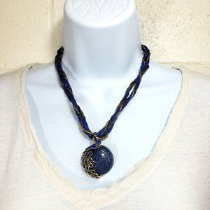 Peacock Blue Twisted Choker Necklace